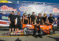 Sept. 6, 2010; Clermont, IN, USA; NHRA pro stock motorcycle rider L.E. Tonglet celebrates with his crew after winning the U.S. Nationals at O'Reilly Raceway Park at Indianapolis. Mandatory Credit: Mark J. Rebilas-