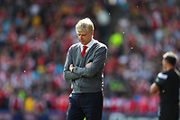 Arsenal manager Arsene Wenger on the touchline for the final time as Arsenal manager during the Premier League match between Huddersfield Town and Arsenal at the John Smith's Stadium, Huddersfield, England on 13 May 2018. Photo by Thomas Gadd / PRiME Media Images.