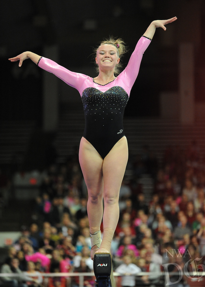 NWA Democrat-Gazette/ANDY SHUPE<br />Arkansas&Otilde; Mia Bargiacchi competes Friday, Feb. 26, 2016, in the beam portion of the Razorbacks&Otilde; meet with Kentucky in Barnhill Arena in Fayetteville. Visit nwadg.com/photos to see more photographs from the meet.