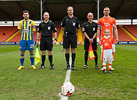 Blackpool match mascot with  Match officials, Accrington Stanley captain Seamus Conneely and Blackpool captain Tom Aldred<br /> <br /> Photographer Terry Donnelly/CameraSport<br /> <br /> The EFL Sky Bet League Two - Blackpool v Accrington Stanley - Friday 14th April 2017 - Bloomfield Road - Blackpool<br /> <br /> World Copyright &copy; 2017 CameraSport. All rights reserved. 43 Linden Ave. Countesthorpe. Leicester. England. LE8 5PG - Tel: +44 (0) 116 277 4147 - admin@camerasport.com - www.camerasport.com