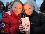 Madison Doherty and Rachel Fitzpatrick pictured at the lighting of the Pascal Fire on the hill of Slane. Photo: Colin Bell/pressphotos.ie