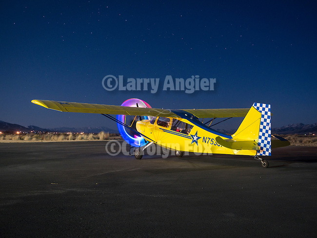Light painting with Tom Bol at the Winnemucca Airport during Shooting the West XXVII, Winnemucca, Nev.<br /> <br /> Champion 7GCBC high wing tail dragger owned by Charles Stringham