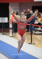Arkansas' Madison Hickey competes Friday, Feb. 7, 2020, in the vault portion of the Razorbacks' meet with Georgia in Barnhill Arena in Fayetteville. Visit  nwaonline.com/gymbacks/ for a gallery from the meet.<br /> (NWA Democrat-Gazette/Andy Shupe)