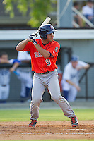 Ramon Laureano (9) of the Greeneville Astros at bat against the Burlington Royals at Burlington Athletic Park on June 29, 2014 in Burlington, North Carolina.  The Royals defeated the Astros 11-0. (Brian Westerholt/Four Seam Images)