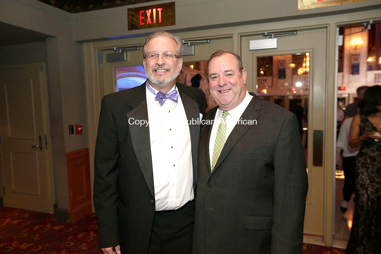 Waterbury, CT- 28 April 2017-042817CM16-  From left Dr. William Petit, president of the Petit Family Foundation and  Mayor Neil O'Leary of Waterbury are photographed during the 10th annual Jane Doe No More gala and awards ceremony at the Palace Theater in Waterbury.   Christopher Massa Republican-American