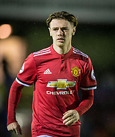 Indy Boonen of Manchester United during the U23 Premier League 2 match between Chelsea and Manchester United at the EBB Stadium, Aldershot, England on 18 September 2017. Photo by Andy Rowland.