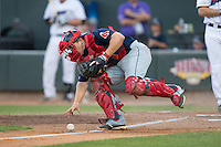 Salem Red Sox catcher Jake Romanski (22) chases after the baseball as it rolls up the third base line during the game against the Winston-Salem Dash at BB&T Ballpark on June 18, 2015 in Winston-Salem, North Carolina.  The Red Sox defeated the Dash 8-2.  (Brian Westerholt/Four Seam Images)