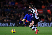 7th January 2018, Camp Nou, Barcelona, Spain; La Liga football, Barcelona versus Levante; Leo Messi of FC Barcelona is fouled by Lukic of Levante