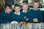 TUCK IN: Enjoying fruit and cereal at the breakfast morning in aid of ChildLine at the Nagle Rice School, Milltown on Friday were l-r: Liam Cronin, Oisin Bolger, Adam Scanlon, Killian Kerins.   Copyright Kerry's Eye 2008