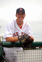 Lowell Spinners pitcher Teddy Stankiewicz #36, the Boston Red Sox 2nd round pick in the 2013 draft, poses for a photo prior to a game versus the Hudson Valley Renegades at LeLacheur Park in Lowell, Massachusetts on August 18, 2013.  (Ken Babbitt/Four Seam Images)