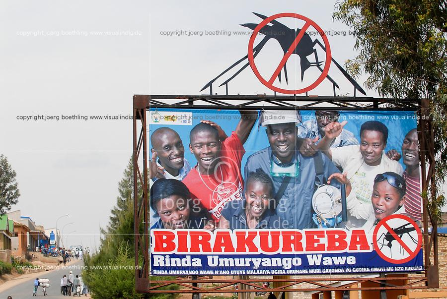 RWANDA, Nyanza, billboard of Malaria awareness campaign / RUANDA, Nyanza, Malaria Aufklaerung