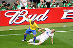 01 July 2006: Zinedine Zidane (FRA) (10) tackles the ball at the feet of Roberto Carlos (BRA) (6). France defeated Brazil 1-0 at Commerzbank Arena in Frankfurt, Germany in match 60, a Quarterfinal game of the 2006 FIFA World Cup.