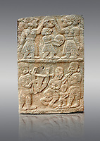 Pictures & images of the North Gate Hittite sculpture stele depicting musicians playing instruments. 8the century BC.  Karatepe Aslantas Open-Air Museum (Karatepe-Aslantaş Açık Hava Müzesi), Osmaniye Province, Turkey. Against grey background