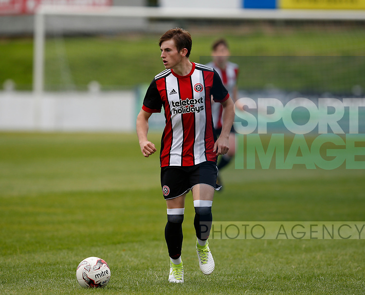 Rhys Norrington Davies of Sheffield Utd during the professional development league two match at the Bracken Moor Stadium, Stocksbridge. Picture date 21st August 2017. Picture credit should read: Simon Bellis/Sportimage