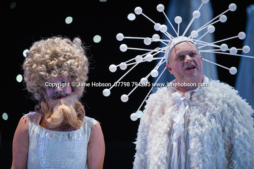 London, UK. 16.10.2014.  English Touring Opera presents LIFE ON THE MOON, by Joseph Haydn, directed by Cal McCrystal, with lighting design by Lee Curran and set & costume design by takis, at the Hackney Empire. Picture shows:  Jane Harrington (Clarice) and Andrew Slater (Buonafede). Photograph © Jane Hobson.
