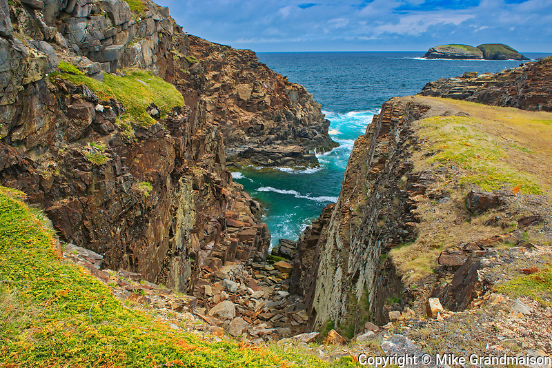 Rocky shoreline looking  towards the Atlantic Ocean on the Bonavista Peninsula.<br />