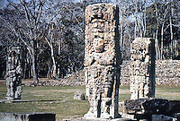 World Civilization:  Mayan Culture--Copan, the Great Plaza with Stela of the Ruler 18 .  Rabbit in foreground.  Fash, SCRIBES, WARRIORS AND KINGS.