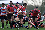 Chad Tuoro looks for support after making a break. Air New Zealand Air NZ Cup warm-up rugby game between the Counties Manukau Steelers & Tasman Mako's, played at Growers Stadium Pukekohe on Sunday July 20th 2008..Counties Manukau won the match 30 - 7.
