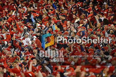 12 October 2012: Washington Nationals fans are exciting as they waves their red towels during Postseason Playoff Game 5 of the National League Divisional Series against the St. Louis Cardinals at Nationals Park in Washington, DC. The Cardinals stunned the home team with a four-run rally in the 9th inning to defeat the Nationals 9-7 and win the NLDS, moving on to the NL Championship Series. Mandatory Credit: Ed Wolfstein Photo
