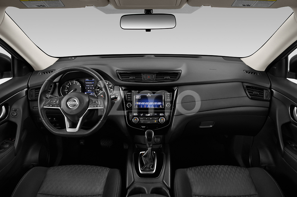 Stock photo of straight dashboard view of a 2019 Nissan Rogue SV 5 Door SUV