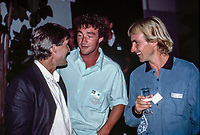 Pierre Agnes (FRA)  circa 1989 with Jeff Hackman (HAW) and Carwyn Williams (UK) at the opening of the Quiksilver France office in St Jean de Luz. Photo: joliphotos