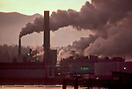 Port Angeles, Crown Zellerbach pulp and paper mill became the James River Corp Mill in 1985 when this image was taken, then it became Daishowa America Co. then Nippon Paper Industries USA, Port Angeles, Puget Sound, Washington State, Pacific Northwest, USA, pulp mills are both air and water polluting industires..