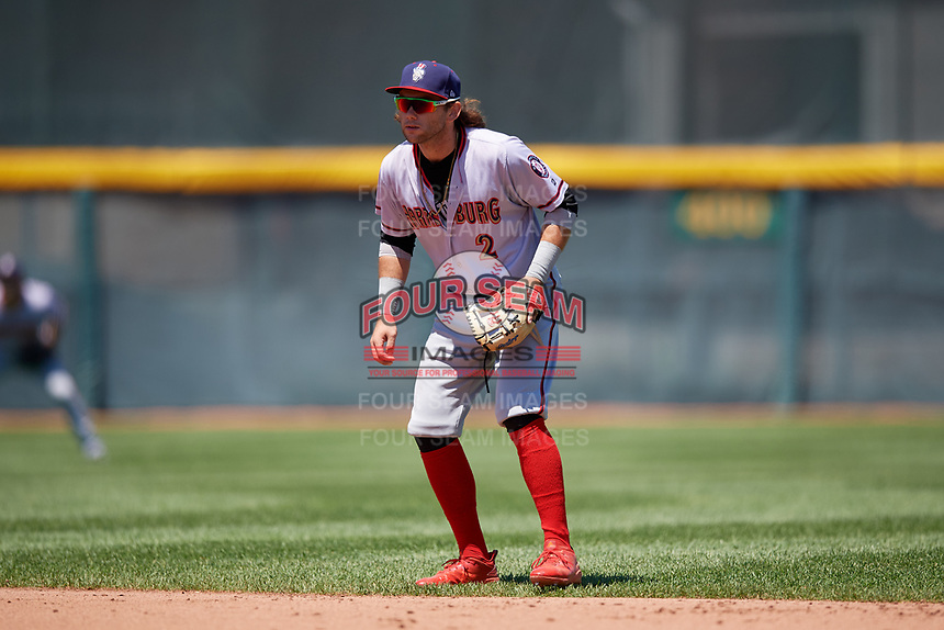Harrisburg Senators second baseman Dante Bichette (2) during an Eastern League game against the Erie SeaWolves on June 30, 2019 at UPMC Park in Erie, Pennsylvania.  Erie defeated Harrisburg 4-2.  (Mike Janes/Four Seam Images)