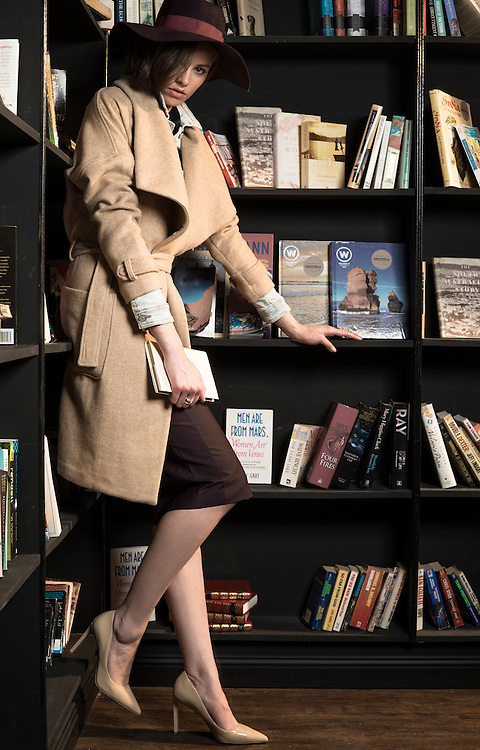 Sunday Mail Fashion, Coats, Model Jessie Andrewartha , Location : Bibliotheca,  27 Gresham St, Adelaide  , Photo: Nick Clayton
