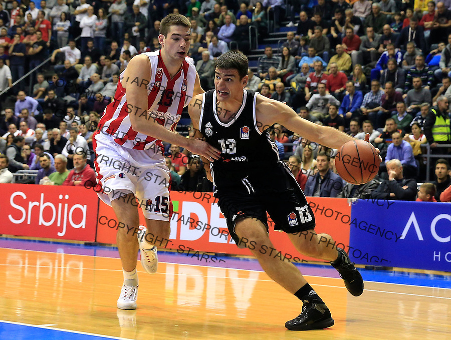 Kosarka ABA League season 2015-2016<br /> Crvena Zvezda v Partizan<br /> Cedomir Vitkovac (R) and Marko Tejic<br /> Beograd, 03.11.2015.<br /> foto: Srdjan Stevanovic/Starsportphoto&copy;