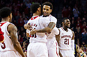 January 9, 2014: Ray Gallegos (15) and Shavon Shields (31) of the Nebraska Cornhuskers celebrate a good play against the Michigan Wolverines at the Pinnacle Bank Arena, Lincoln, NE. Michigan defeated Nebraska 71 to 70.