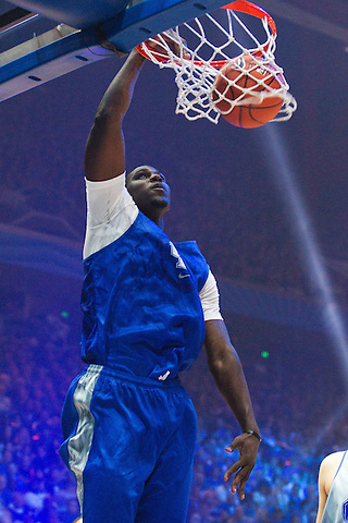 Freshman Alex Poythress, from Clarksville, Tenn., dunks in his first Big Blue Madness. Kentucky held its annual Big Blue Madness practice to launch the 2012-13 basketball season at Rupp Arena in Lexington, Oct. 12, 2012. Photo by Derek Poore