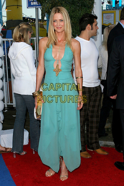 KELLY ROWAN.Fox TCA Party, .Santa Monica, 29th July 2005.full length turquoise halter neck dress cleavage gold sandals shoes bangles bracelet clutch bag.www.capitalpictures.com.sales@capitalpictures.com.© Capital Pictures.