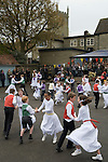 Charlton-on-Otmoor Oxfordshire  May Day Celebrations. Children from the Church of England St Mary the Virgin Primary School process to the village church to have their May garlands blessed. The garlands are then hung on the church Rood Screen. After the May Garland Service children take part in traditional May dances in the car park of the Crown Inn.