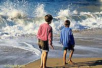 AC01-025z  Ocean - boys walking in surf, waves breaking