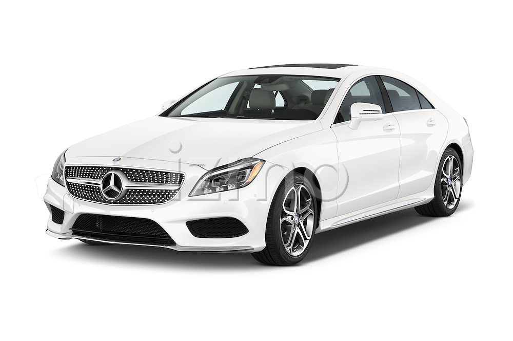 2015 Mercedes Benz CLS-Class CLS400 2 Door Coupe Angular Front stock photos of front three quarter view