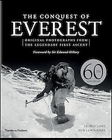Bmth News (01202 558833).Pic: Thames&Hudson/BNPS..***Must Use Full Byline***..New book containing the never seen pictures of the conquest of Everest...Never-before-seen photographs of the famous British Mount Everest conquest in 1953 have come to light 60 years after the historic ascent...The snaps were taken by expedition member George Lowe who documented the historic first ever trek to the summit of the world's tallest peak...Many of Lowe's photographs have been widely published before but these eight images were kept by Lowe, possibly because he thought the others were better...Now, nearly 60 years to the day Sir Edmund Hillary became the first man in the world to conquer Everest, the pictures have been made available for a new book to commemorate the feat.