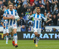 Huddersfield Town's Elias Kachunga celebrates scoring his sides equalising goal to make the score 1-1<br /> <br /> Photographer Alex Dodd/CameraSport<br /> <br /> The EFL Sky Bet Championship - Huddersfield Town v Preston North End - Friday 14th April 2016 - The John Smith's Stadium - Huddersfield<br /> <br /> World Copyright &copy; 2017 CameraSport. All rights reserved. 43 Linden Ave. Countesthorpe. Leicester. England. LE8 5PG - Tel: +44 (0) 116 277 4147 - admin@camerasport.com - www.camerasport.com