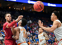 NWA Democrat-Gazette/CHARLIE KAIJO Arkansas Razorbacks forward Daniel Gafford (10) passes during the Southeastern Conference Men's Basketball Tournament semifinals, Saturday, March 10, 2018 at Scottrade Center in St. Louis, Mo. The Tennessee Volunteers knocked off the Arkansas Razorbacks 84-66