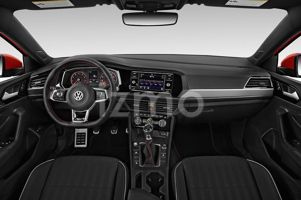 Stock photo of straight dashboard view of a 2019 Volkswagen Jetta GLI-S 4 Door Sedan