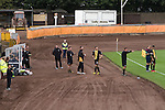 The home team making a substitution at Shielfield Park, during the Scottish League Two fixture between Berwick Rangers and East Stirlingshire, in a stadium which also doubles as a professional speedway track. The home club occupied a unique position in Scottish football as they are based in Berwick-upon-Tweed, which lies a few miles inside England. Berwick won the match by 5-0, watched by a crowd of 509.