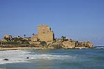 Israel, Carmel coast. Crusader fortress Chateau Pelerin in Atlit