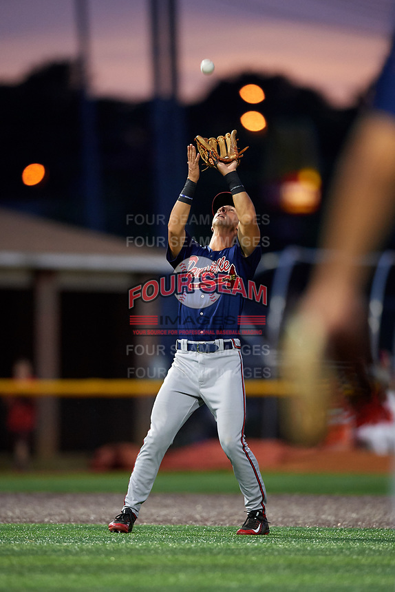 Danville Braves third baseman Brett Langhorne (23) settles under a pop up during a game against the Johnson City Cardinals on July 28, 2018 at TVA Credit Union Ballpark in Johnson City, Tennessee.  Danville defeated Johnson City 7-4.  (Mike Janes/Four Seam Images)