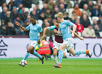 Manchester City Raheem Sterling and West Ham's Mark Nobel during the EPL - Premier League match between West Ham United and Manchester City at the Olympic Park, London, England on 29 April 2018. Photo by Andrew Aleksiejczuk / PRiME Media Images.