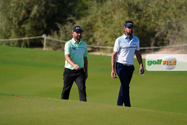 Andy Sullivan (ENG) and Scott Jamieson (SCO) on the 16th during Round 1 of the Commercial Bank Qatar Masters 2020 at the Education City Golf Club, Doha, Qatar . 05/03/2020<br /> Picture: Golffile | Thos Caffrey<br /> <br /> <br /> All photo usage must carry mandatory copyright credit (© Golffile | Thos Caffrey)