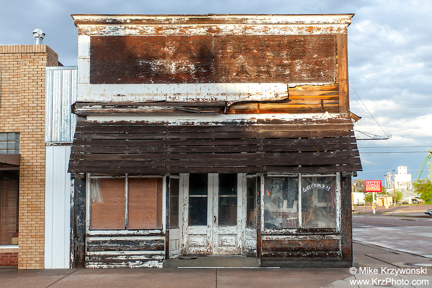 Old abandoned storefront building in Akron, CO