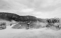 Edward Theuns (BEL/Sunweb) over the gravel roads up the Montée du plateau des Glières (HC/1390m)<br /> <br /> Stage 10: Annecy > Le Grand-Bornand (159km)<br /> <br /> 105th Tour de France 2018<br /> ©kramon