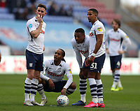 8th February 2020; DW Stadium, Wigan, Greater Manchester, Lancashire, England; English Championship Football, Wigan Athletic versus Preston North End; Scott Sinclair of Preston North End conferees with his team mates before taking a direct free kick