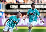 Nederland, Rotterdam, 15 mei 2014<br /> Jupiler Play-Offs<br /> Finale<br /> Sparta-FC Dordrecht<br /> Giovanni Korte (l.) van FC Dordrecht schreeuwt het uit van vreugde nadat hij een doelpunt heeft gemaakt, 1-2. Rechts Paul Gladon