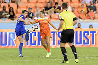 Houston, TX - Wednesday June 28, 2017: Morgan Andrews  and Amber Brooks battle for control of a loose ball during a regular season National Women's Soccer League (NWSL) match between the Houston Dash and the Boston Breakers at BBVA Compass Stadium.