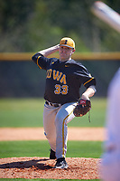 Iowa Hawkeyes starting pitcher C.J. Eldred (33) delivers a pitch during a game against the Dartmouth Big Green on February 27, 2016 at South Charlotte Regional Park in Punta Gorda, Florida.  Iowa defeated Dartmouth 4-1.  (Mike Janes/Four Seam Images)